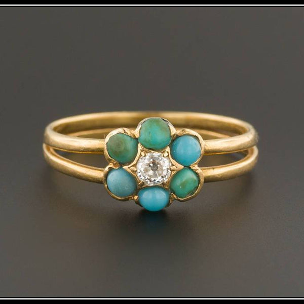 Antique Diamond & Turquoise Forget-me-Not Flower Ring | 18k Gold Ring | Turquoise and Diamond Ring | Turquoise Ring