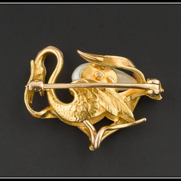 Art Nouveau Swan Pin or Brooch by Krementz | Antique 14k Gold & Pearl Swan Pin-Trademark Antiques