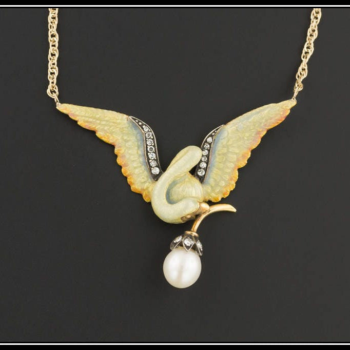 Vintage Enamel Bird Necklace | Vintage Pin Conversion | 18k Gold Bird on 9ct Gold Chain | Bird Necklace with Diamond and Pearl Accents