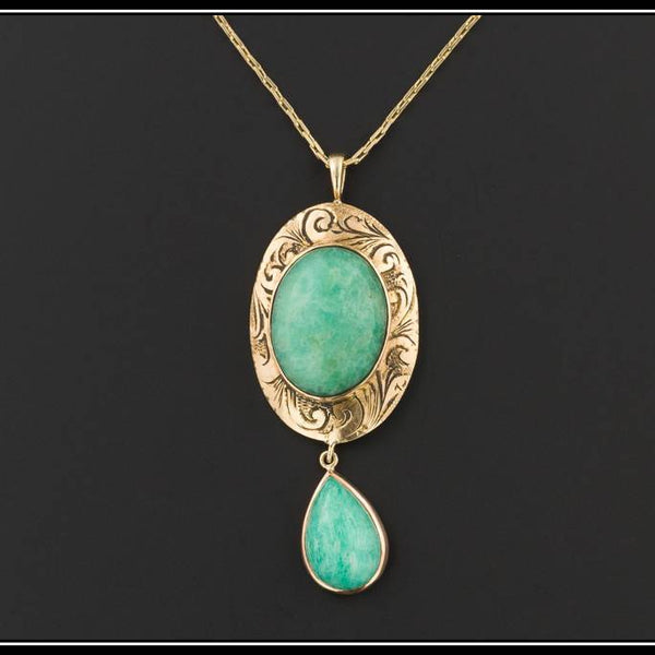 14k Gold Chrysoprase Pendant | Antique Pin Conversion Necklace | Chrysoprase Pendant with Optional 14k Gold Chain