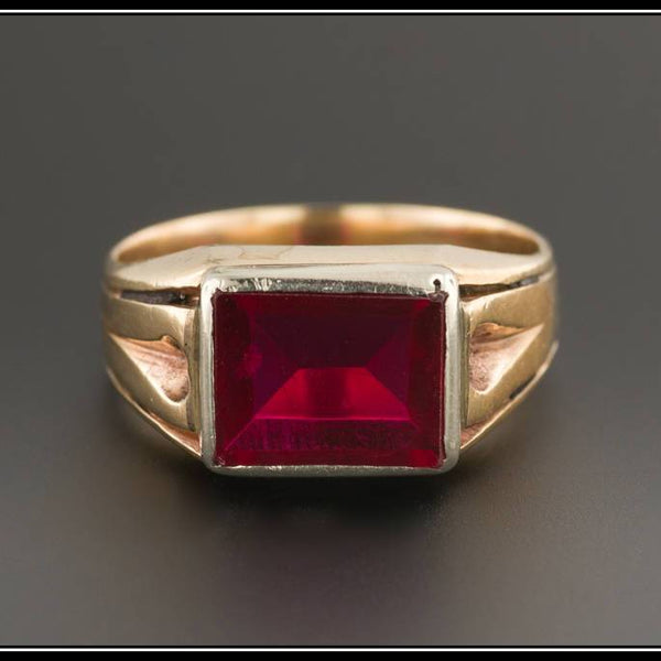 Vintage 10k Gold Ruby Ring | Synthetic Ruby Ring | 10k Gold Ring | Vintage Ring | Mid-Century Ruby Ring | Unisex Ring