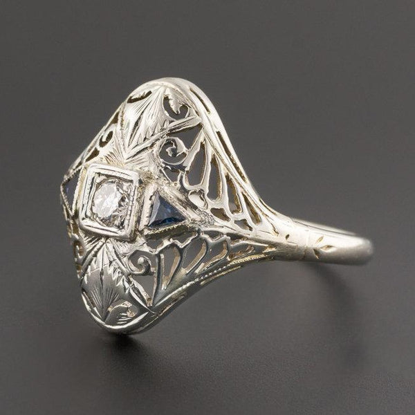 Art Deco Filigree Diamond Ring | Vintage Diamond & Synthetic Sapphire Ring-Trademark Antiques