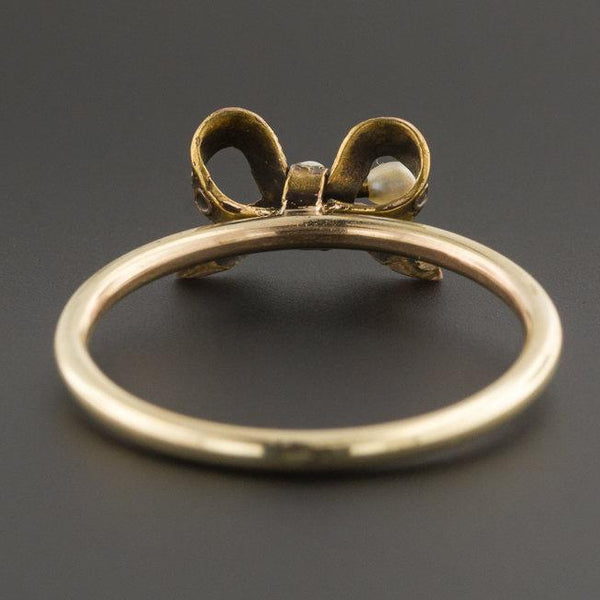 10k Gold Bow Ring | Antique Pin Conversion Ring | Pierced Bow Ring | 14k Gold Top with 10k Band | Stick Pin Ring