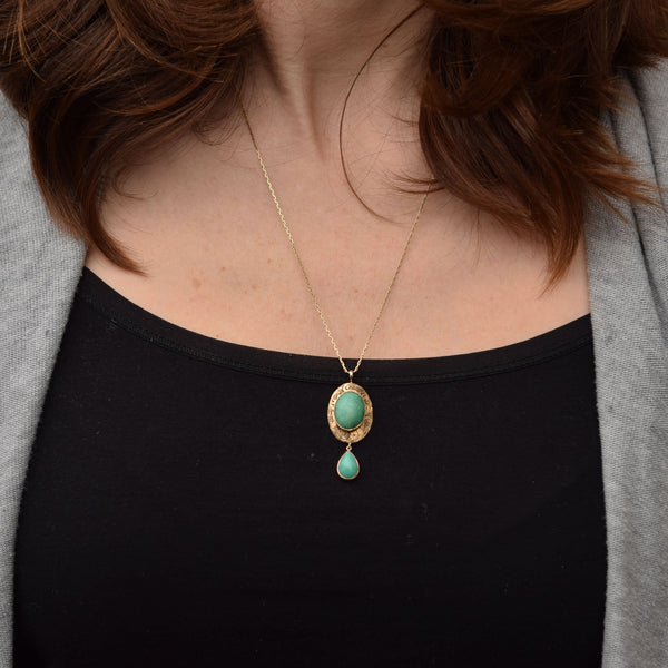14k Gold Chrysoprase Pendant | Antique Pin Conversion Necklace-Trademark Antiques