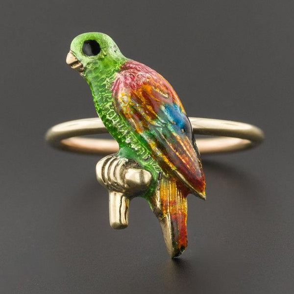 Enamel Parrot Ring | 10k Gold Parrot Ring | Vintage Pin Conversion Ring | 10k Gold Bird Ring | Enamel RIng