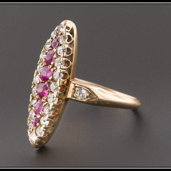 Antique Ruby & Diamond Ring | Antique 14k Gold Navette Ring-Trademark Antiques
