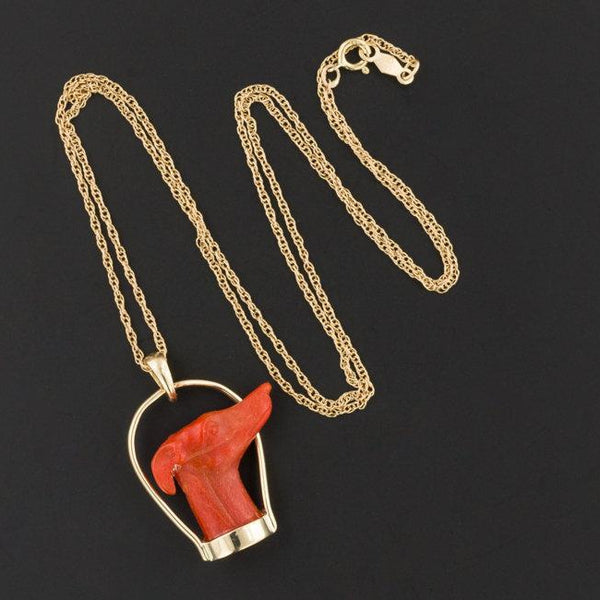 Carved Coral Greyhound Pendant or Necklace | Antique Stick Pin Conversion-Trademark Antiques