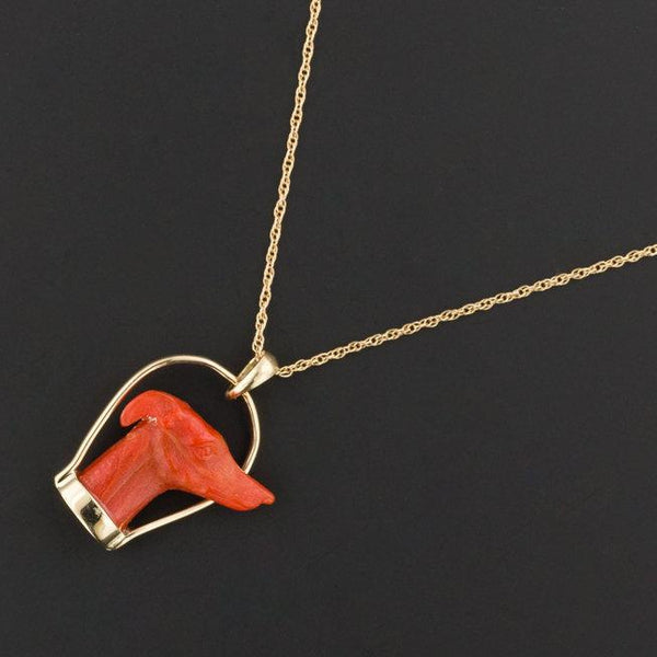 Carved Coral Greyhound Pendant or Necklace | Antique Stick Pin Conversion | 14k Gold Greyhound Pendant with Optional 14k Chain | Dog Pendant