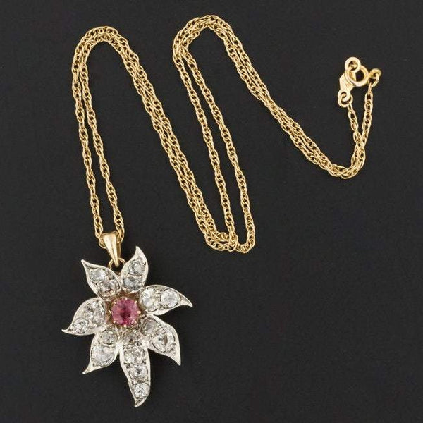Pink Tourmaline & Diamond Flower Pendant | Antique Pin Conversion Pendant | Silver topped 10k Gold Pendant with Optional 14k Gold Chain