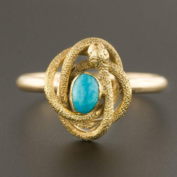 Turquoise Snake Ring | 14k Gold Snake Ring | Conversion Ring | Antique Stick Pin Ring | Antique Snake Ring | 14k Gold Ring |
