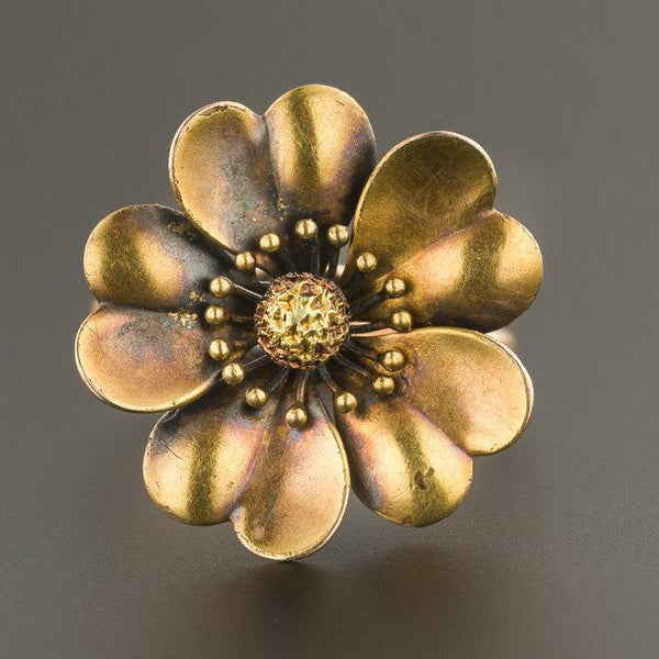 14k Gold Flower Ring | Antique Pin Conversion Ring | Gold Ring | Antique Flower Ring | 14k Gold Statement Ring