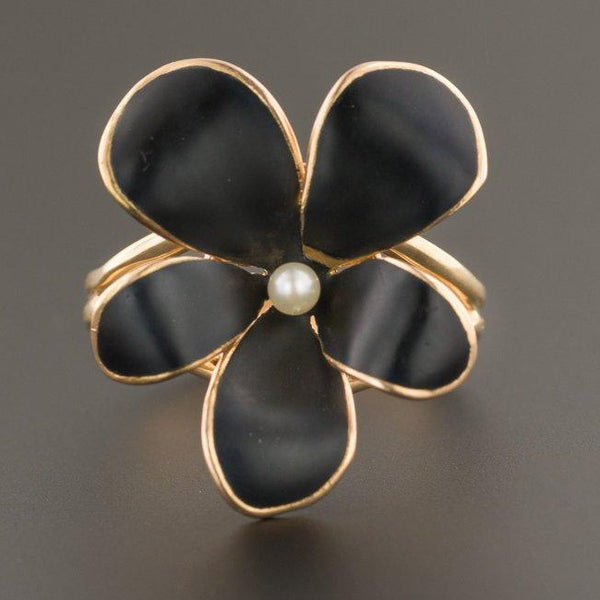 Black Violet Ring | Antique Pin Conversion Ring | Black Flower Ring | 14k Gold Ring | Pearl & Black Enamel Ring | 14k Gold Flower Ring