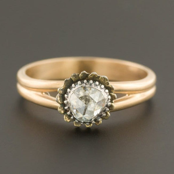 Rose Cut Diamond Ring | Antique Pin Conversion Ring | 14k Gold Diamond Ring | 14k Gold Ring | Old Cut Diamond Ring | Closed Back Diamond