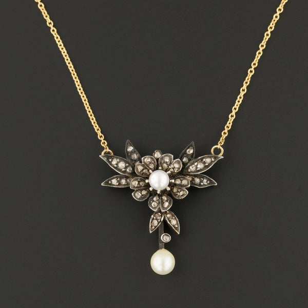 Diamond & Pearl Necklace | Antique Diamond Flower Necklace | Bridal Necklace | Pin Conversion | 14k Gold Necklace
