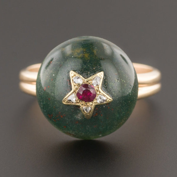 Bloodstone Ring | 14k Gold Bloodstone Ring with Ruby Star & Diamonds | Antique Pin Conversion Ring