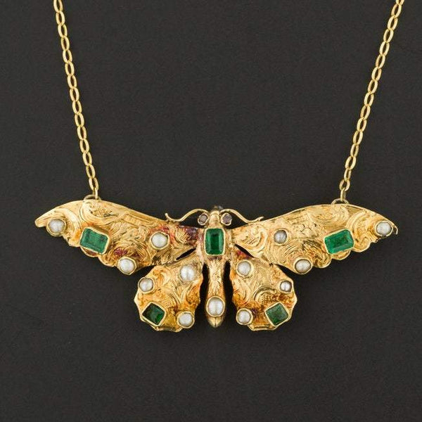 Antique Butterfly Necklace | Brooch Conversion Necklace-Trademark Antiques