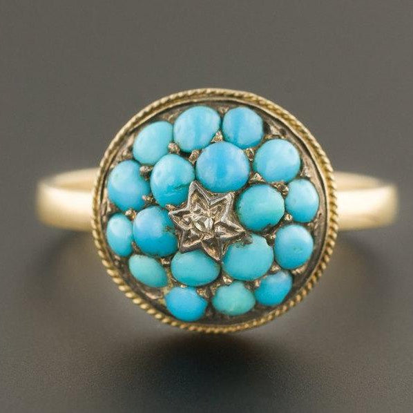 Turquoise Ring | Antique Pin Conversion Ring | Turquoise Dome Ring | December Birthstone Ring | 14k Gold Ring | Star Ring