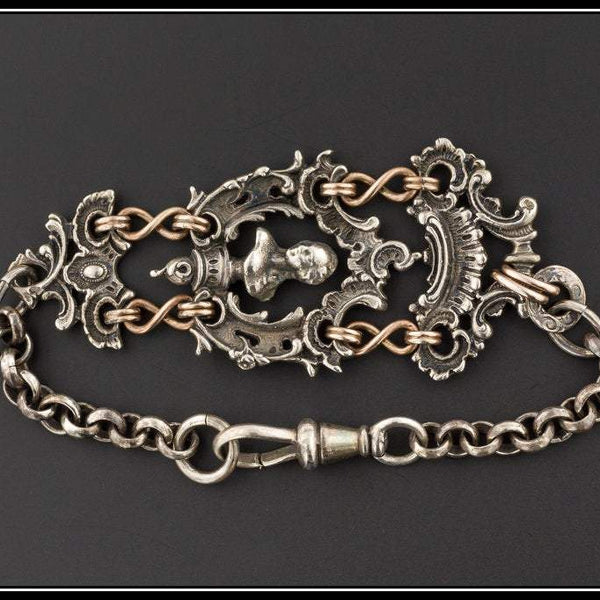 Antique Silver Bracelet | Watch Chain Conversion Bracelet | Ornate Silver Link Bracelet | Silver Jewelry