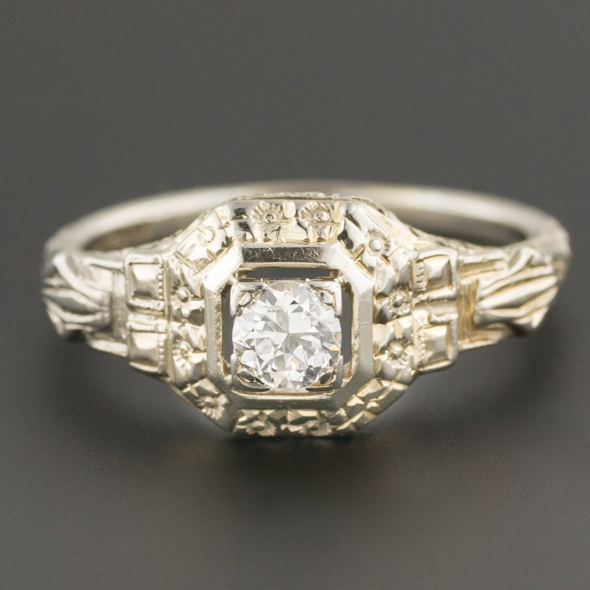 Art Deco Engagement Ring | Vintage Engagement Ring | 18k White Gold Filigree Ring | Diamond Engagement Ring | Art Deco Diamond Ring