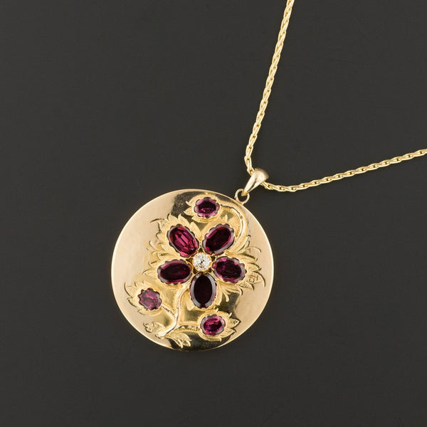 Flower Pendant | Garnet Flower Pendant | Antique Pin Conversion | 14k Gold Pendant on Optional 14k Chain | Garnet Necklace