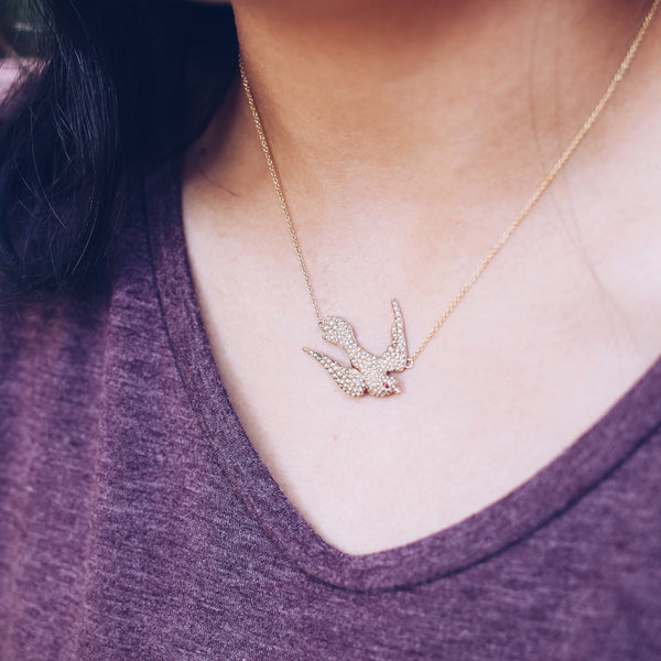 Antique Bird Necklace | Pearl Bird Necklace | Antique Pin Conversion | Bridal Necklace | Pearl Necklace | 14k Gold Necklace