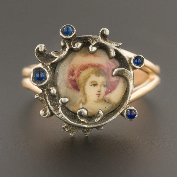 Antique Miniature Portrait Ring | Silver Topped 14k Yellow Gold Ring | Antique Pin Conversion Ring | Hand Painted Miniature