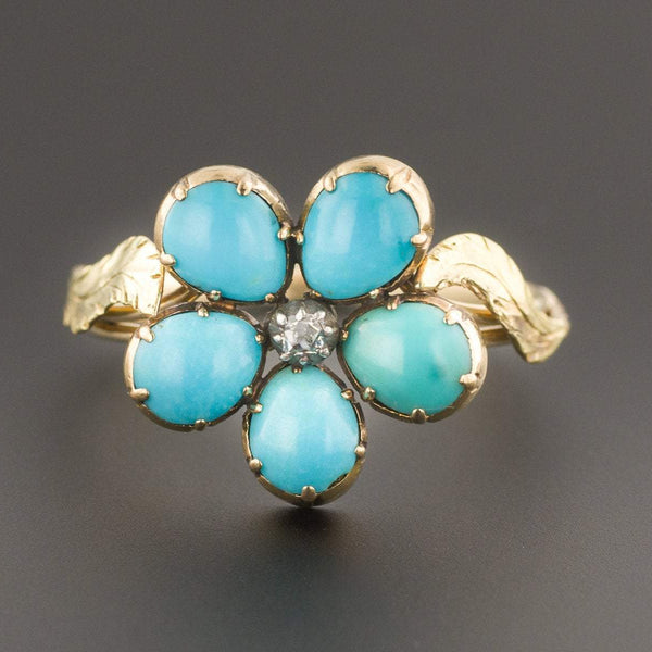 Turquoise Flower Ring | Antique Flower Ring | Pin Conversion Ring | 14k Gold Ring | Turquoise RIng