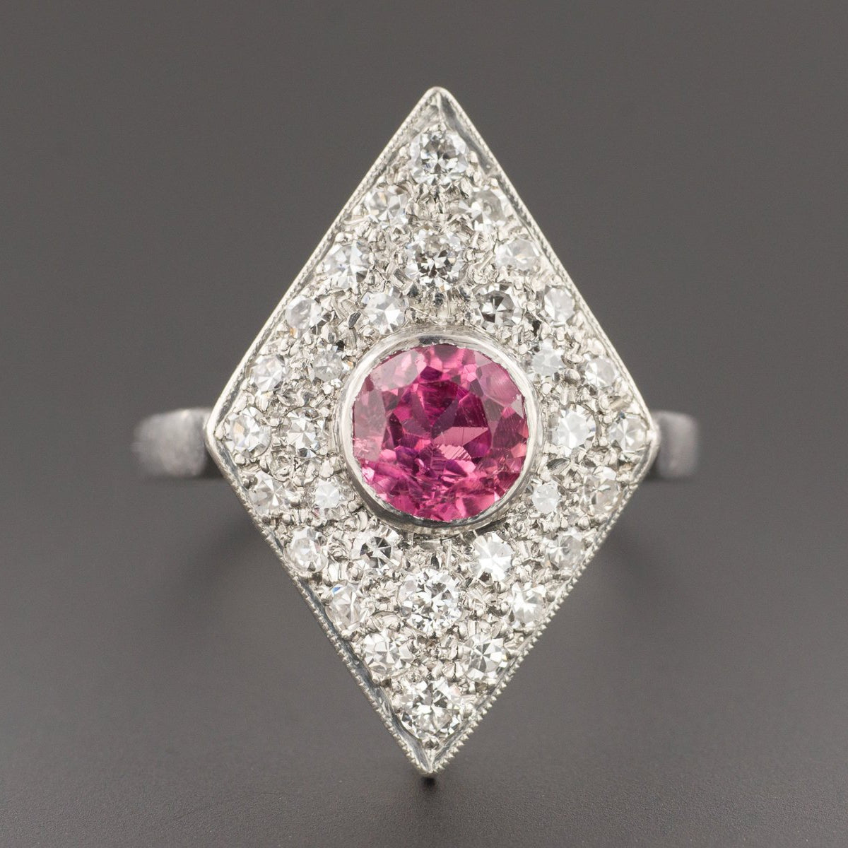 Pink Tourmaline & Diamond Ring | Vintage Ring-Trademark Antiques