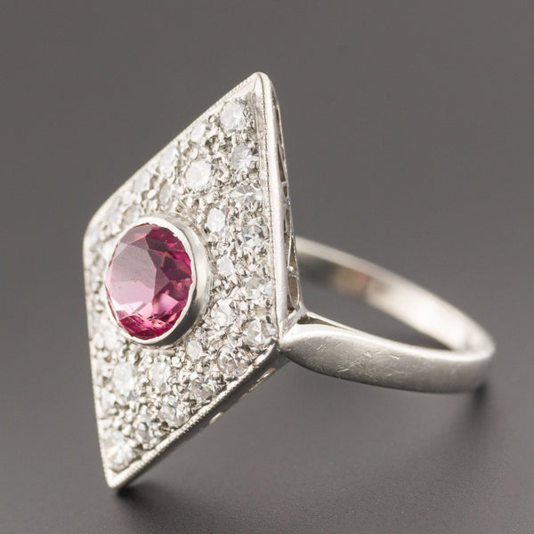 Pink Tourmaline & Diamond Ring | Vintage Ring | Cocktail Ring | Tourmaline Ring | Platinum Ring