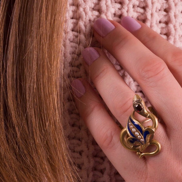 Snake Ring | Antique Snake Ring with Garnet Enamel & Pearl | 14k Gold Ring | Chatelaine Conversion Ring