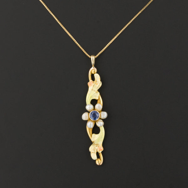 Sapphire & Pearl Flower Pendant | Antique Pin Conversion | 14k Pendant on Optional 14k Chain
