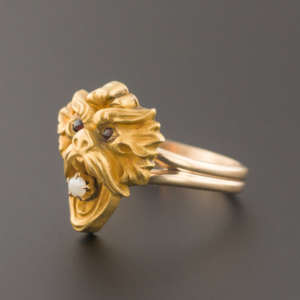 Gargoyle Ring | Antique Pin Conversion | 14k Gold Ring | Stick Pin Ring | Antique Gargoyle Ring