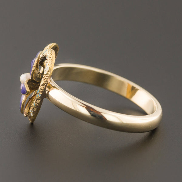 Violet Heart Ring | Pin Conversion Ring | Antique Enamel Flower Ring | 14k Gold Ring | Violet Ring