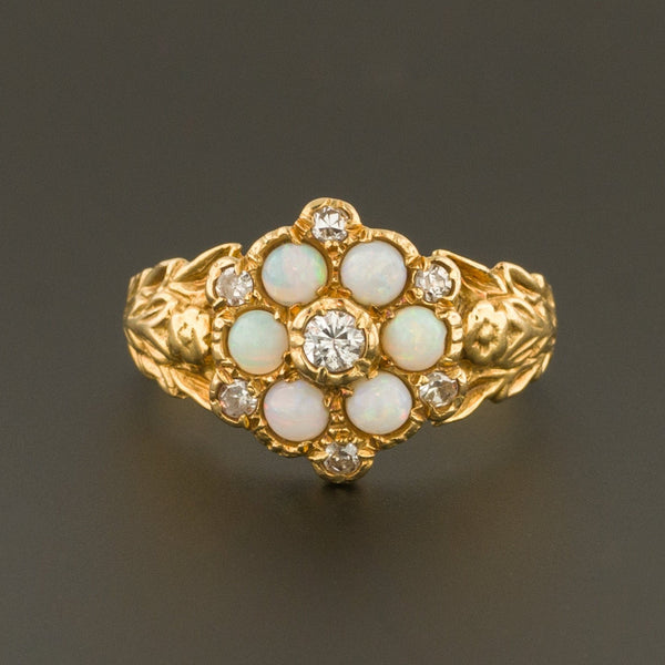 Opal Ring | 18k Gold Opal & Diamond Ring | Vintage Opal Ring | October Birthstone
