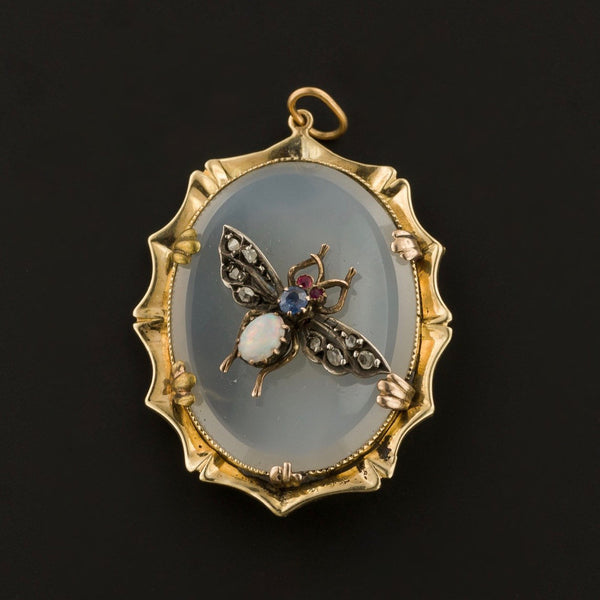 Antique Gemstone Insect Pendant | 14k Gold & Fly Pendant | Pin Conversion| Opal Diamond and Chalcedony Pendant