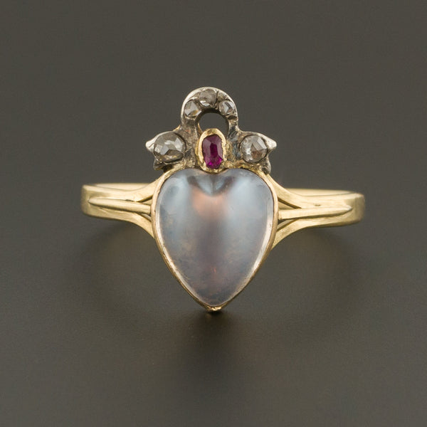 Antique Moonstone Heart Ring | Moonstone Diamond & Ruby Ring | 18k Gold Ring | Pin Conversion | Love Token Ring
