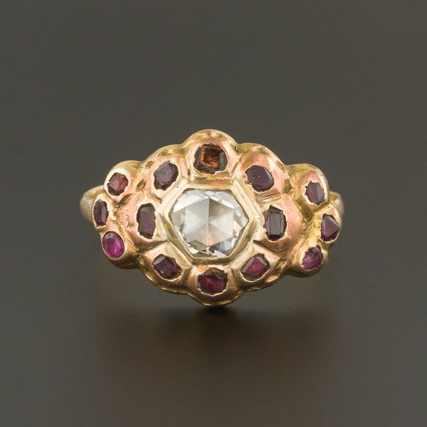 Antique 18th Century Iberian Diamond & Red Spinel Ring | Antique Ring-Trademark Antiques