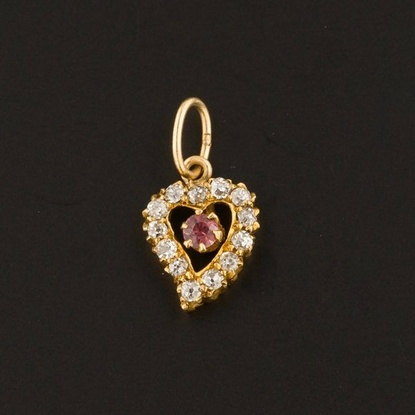 Antique Diamond & Ruby Heart Charm | Antique Heart-Trademark Antiques