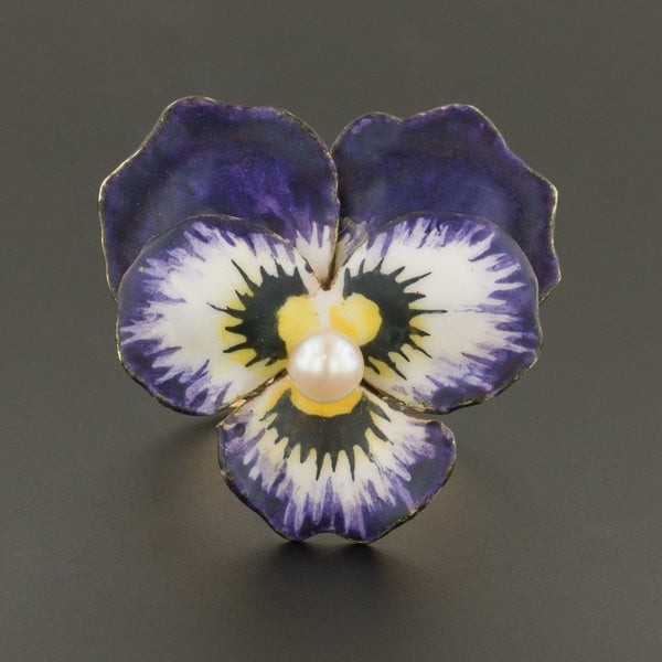 Purple Pansy Ring | 14k Gold Ring | Statement Ring | Conversion Ring | Enamel Pansy Ring | Flower Ring | Vintage Jewelry