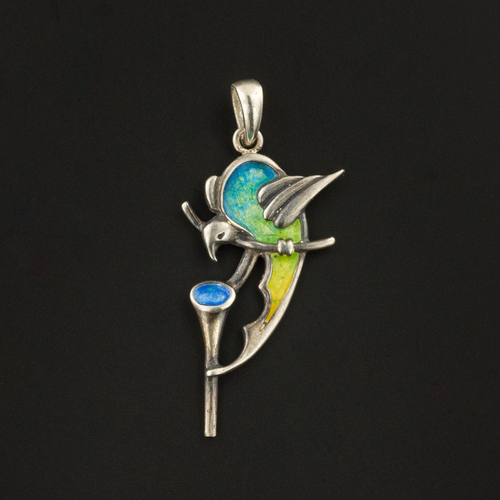 Silver & Enamel Bird Charm | Pin Conversion | Antique Bird Charm