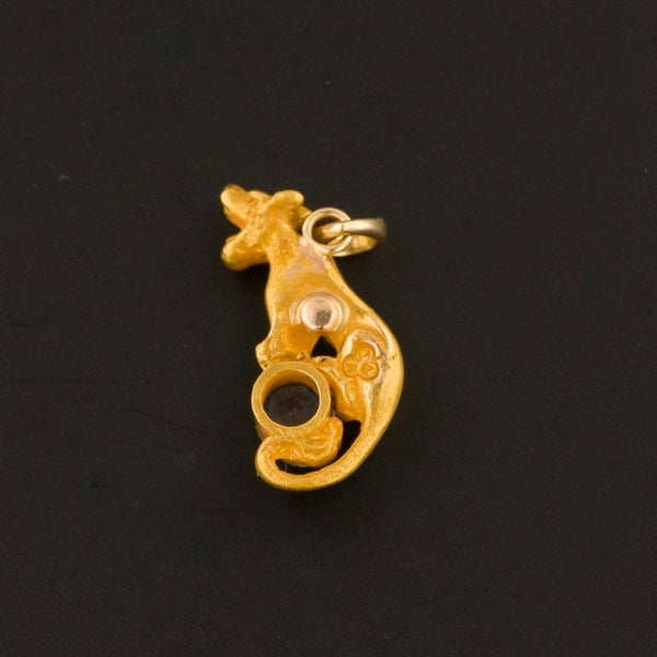 Sapphire Panther or Lioness Charm | 14k Gold Charm | Antique Pin Conversion