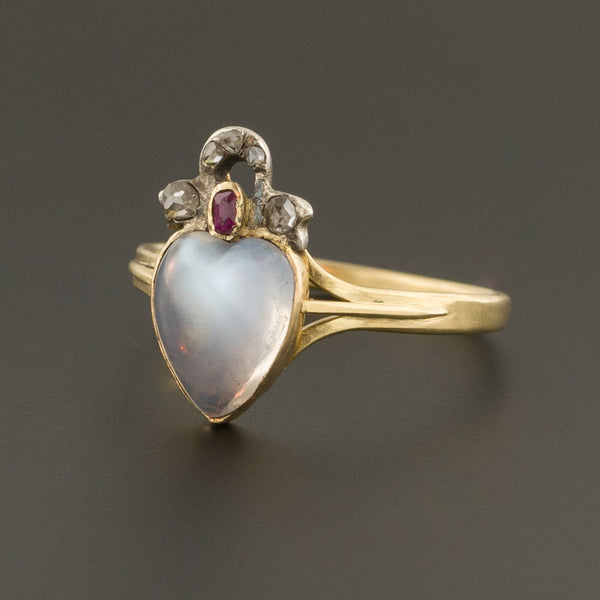 Antique Moonstone Heart Ring | Moonstone Diamond & Ruby Ring-Trademark Antiques