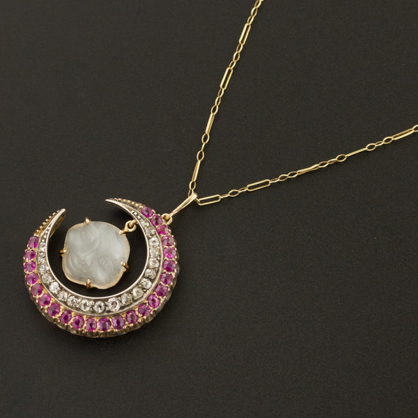 Man in the Moon Necklace | Carved Moonstone Face with Diamond & Ruby Crescent | Antique Pin Conversion