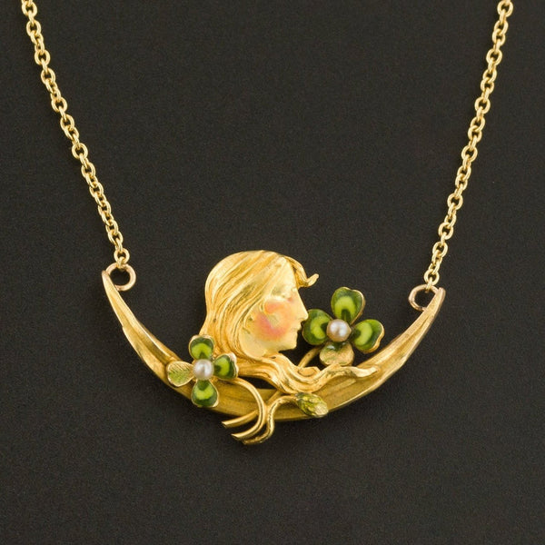 Art Nouveau Woman with Clovers Necklace | 14k Gold Necklace | Pin Conversion | Art Nouveau Necklace