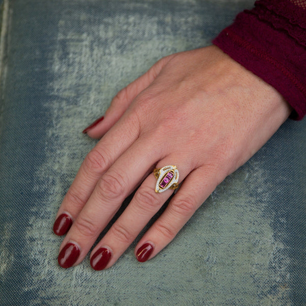 Garnet & White Enamel Ring | Antique Ring | 14k Gold Ring | Shield Ring