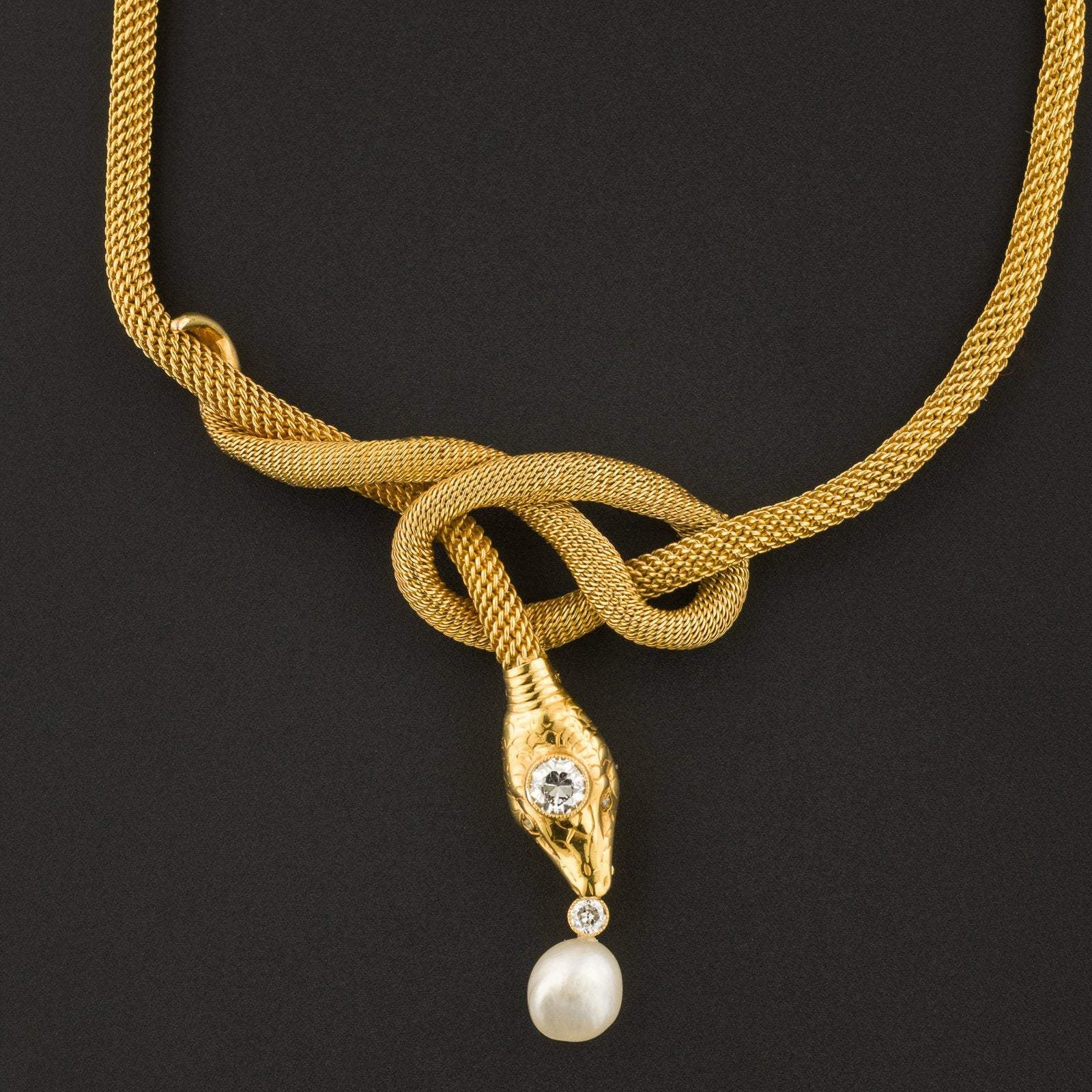 Vintage Snake Necklace | Diamond & Pearl Snake Necklace-Trademark Antiques