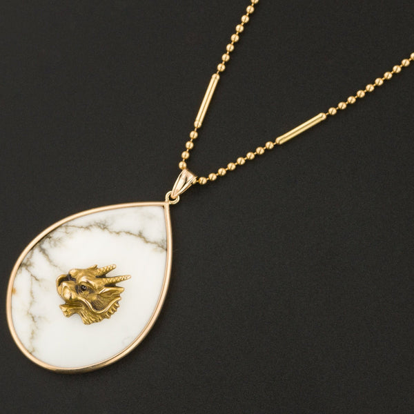 Antique Gold Dragon on Howlite Pendant | 14k Gold Pendant on Optional 14k Chain | Pin Conversion
