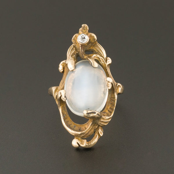 Moonstone Ring | Antique Moonstone & Diamond Ring | 9ct Gold Ring