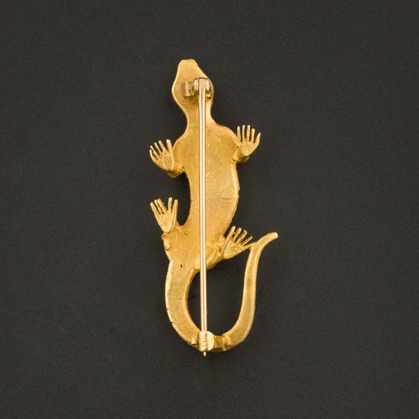 Antique Lizard Brooch | 14k Gold Brooch-Trademark Antiques