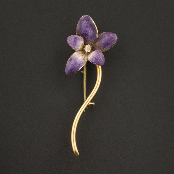 Antique Violet Brooch | Antique Enamel Violet Brooch | 18k Gold Brooch | Antique Flower Brooch